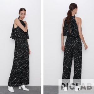 Zara black & ecru polka dot jumpsuit